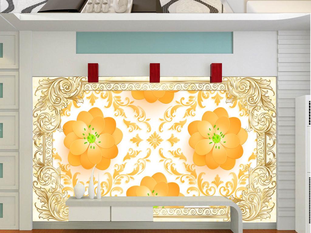 大堂书房卧室沙发欧式壁画手绘花朵大理石花纹花朵花