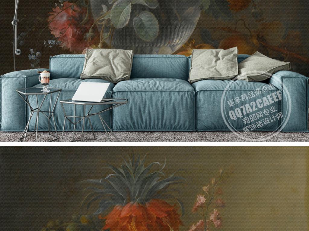 欧式高清油画花卉背景墙壁画