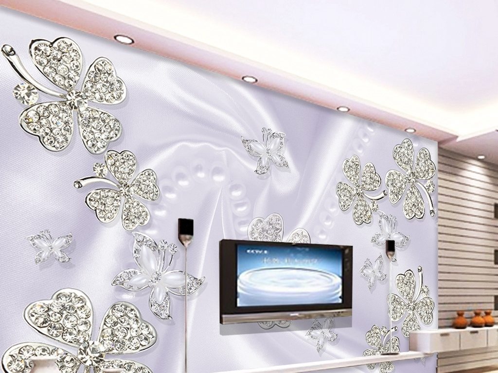 沙发背景墙壁画镶钻石花朵简欧浪漫唯美简约大气雅致