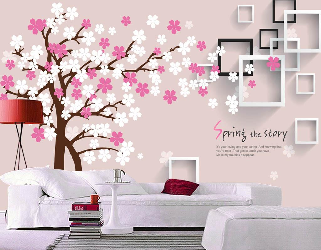 粉色手绘樱花方框3d电视背景墙