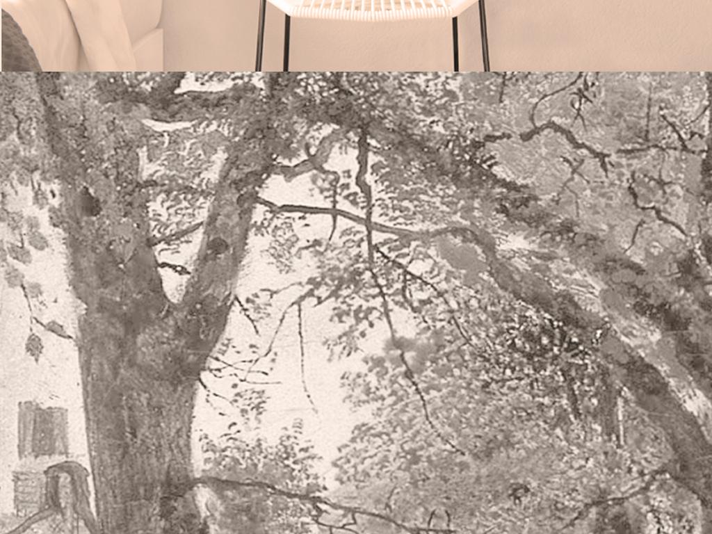 复古油画欧式小镇风景客厅装饰画无框画