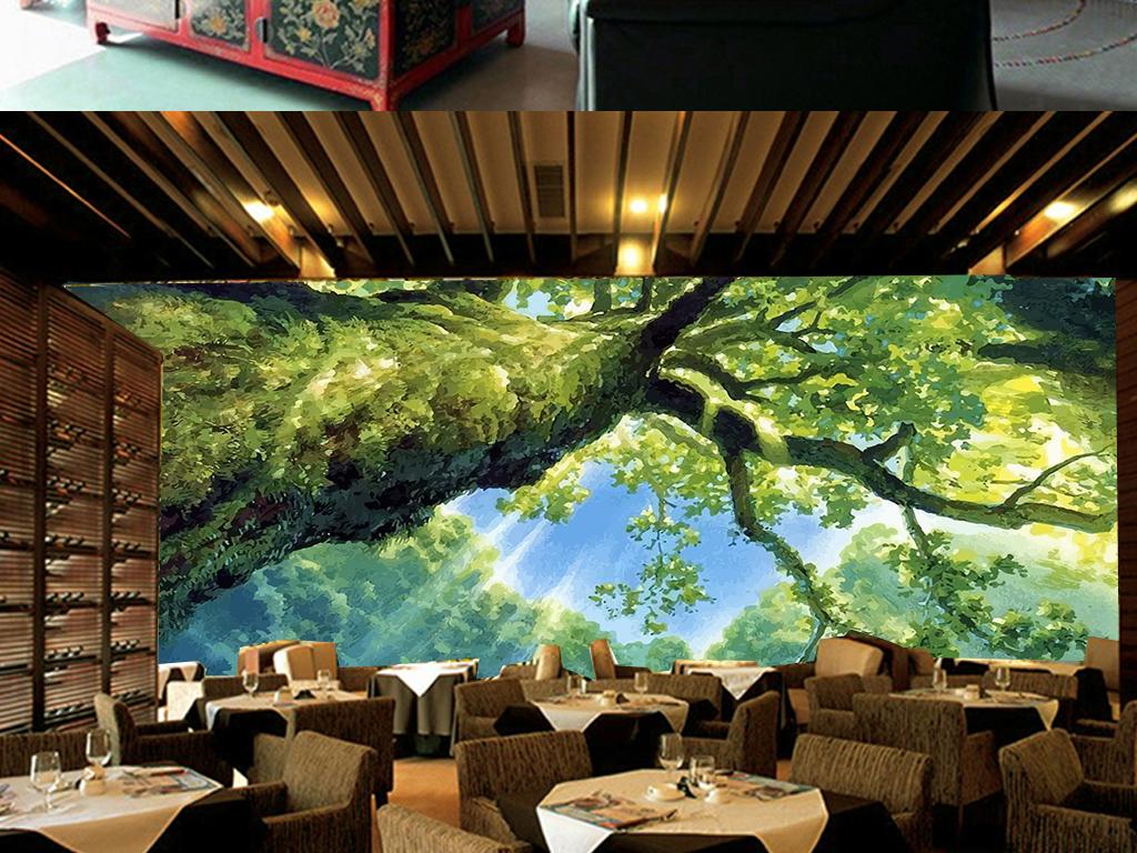 手绘大树阳光森林绿色客厅电视背景墙
