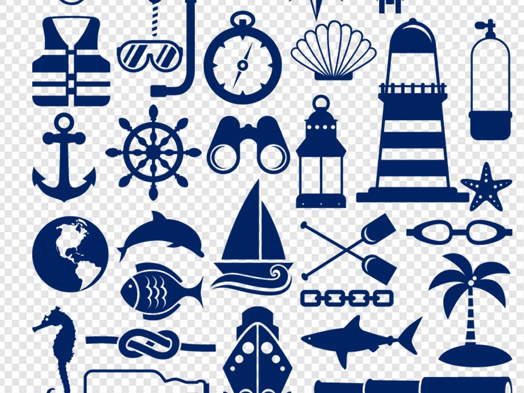 手绘航海船帆船舵图标素材