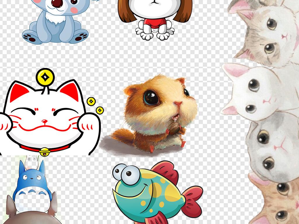 手绘插画狗狗小报手抄报卡通动物动物卡通素材猫咪
