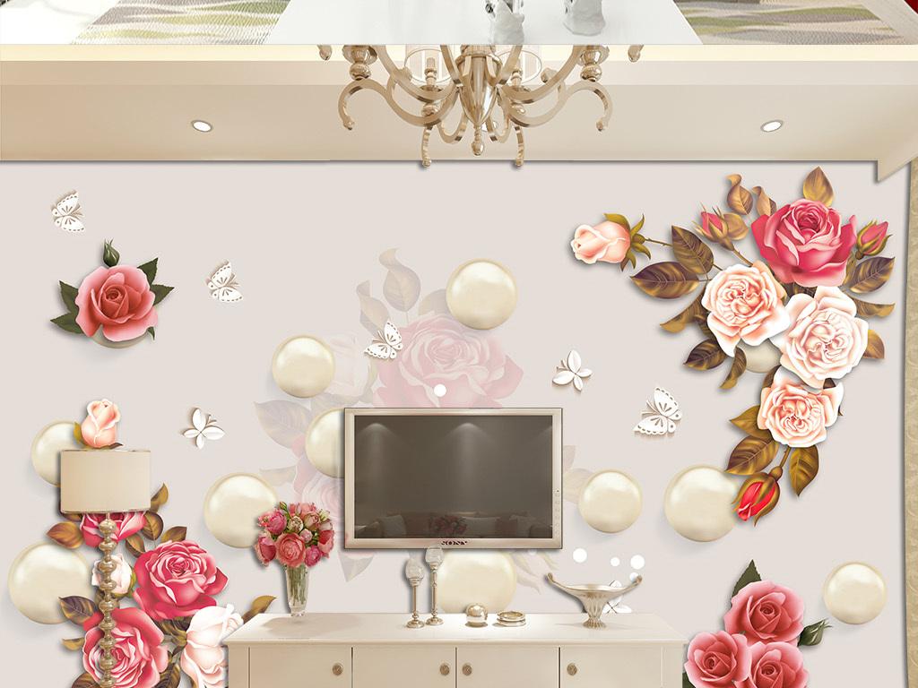 3d立体圆球玫瑰花剪纸蝴蝶电视背景