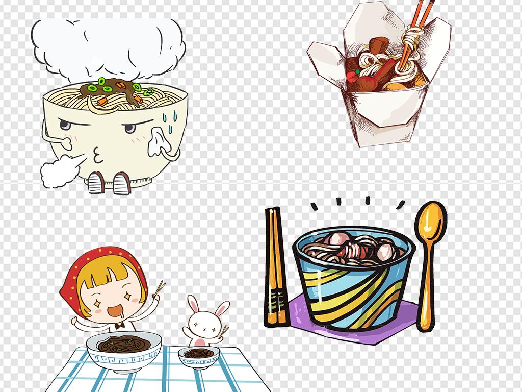热干面炒面宽面条手绘卡通食物素材鸡蛋面吃面简笔画