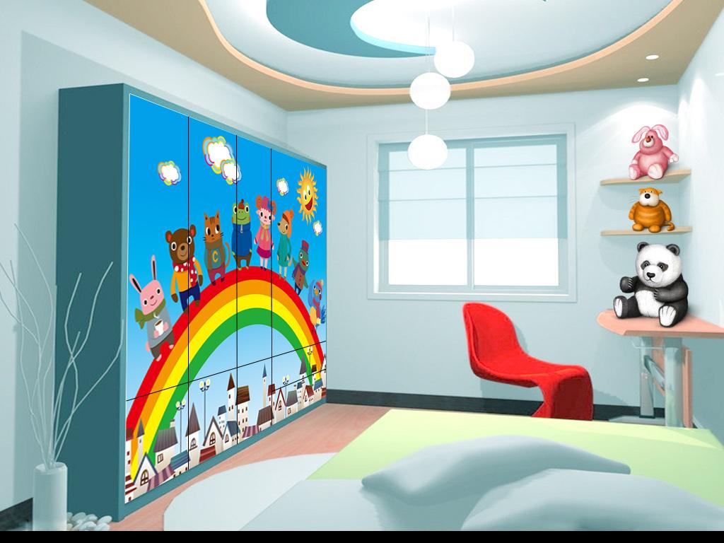 我图网提供精品流行 彩虹卡通动物儿童房背景墙素材 下载,作品模板源文件可以编辑替换,设计作品简介: 彩虹卡通动物儿童房背景墙 矢量图, CMYK格式高清大图, 使用软件为 Illustrator CS6(.ai)
