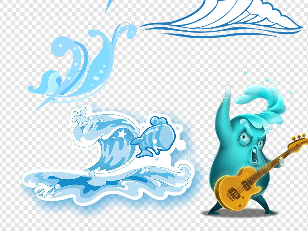 手绘卡通水素材水浪水滴水波浪纹海浪花纹蓝色海水