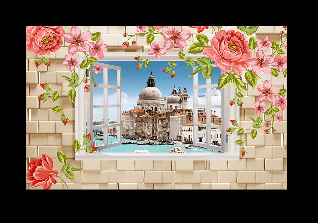 3d立体手绘牡丹花窗户风景客厅背景墙