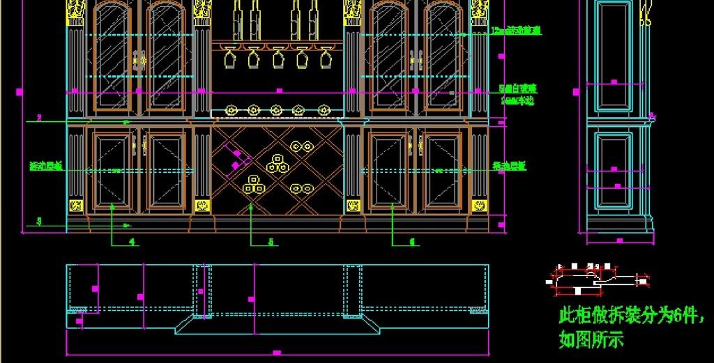 三视图cad法式家具欧式家具书柜衣柜cad设计素材整
