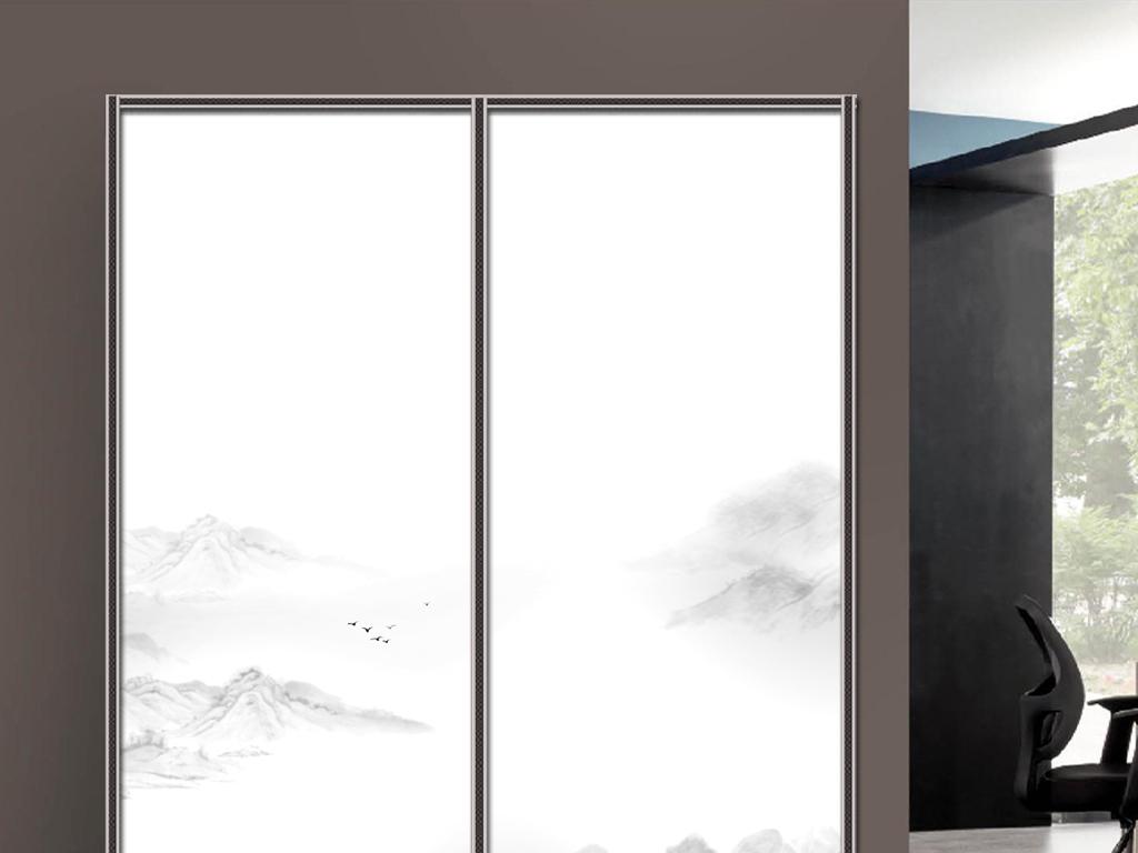 uv打印手绘水墨山水衣柜移门图片背景柜子