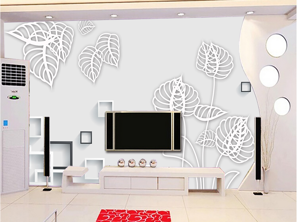 3d方框手绘花朵电视背景墙