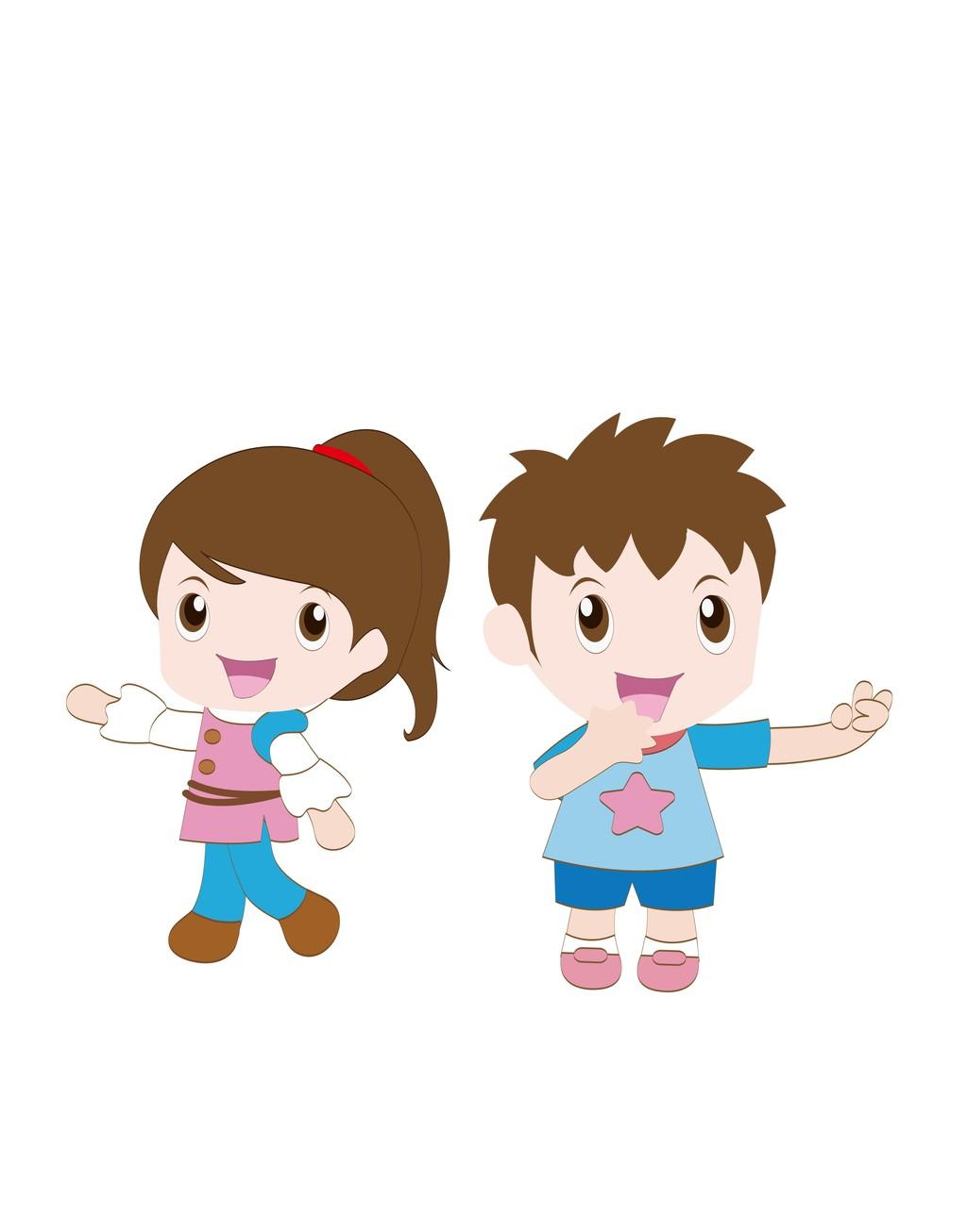 卡通人物矢量图男孩女孩儿童