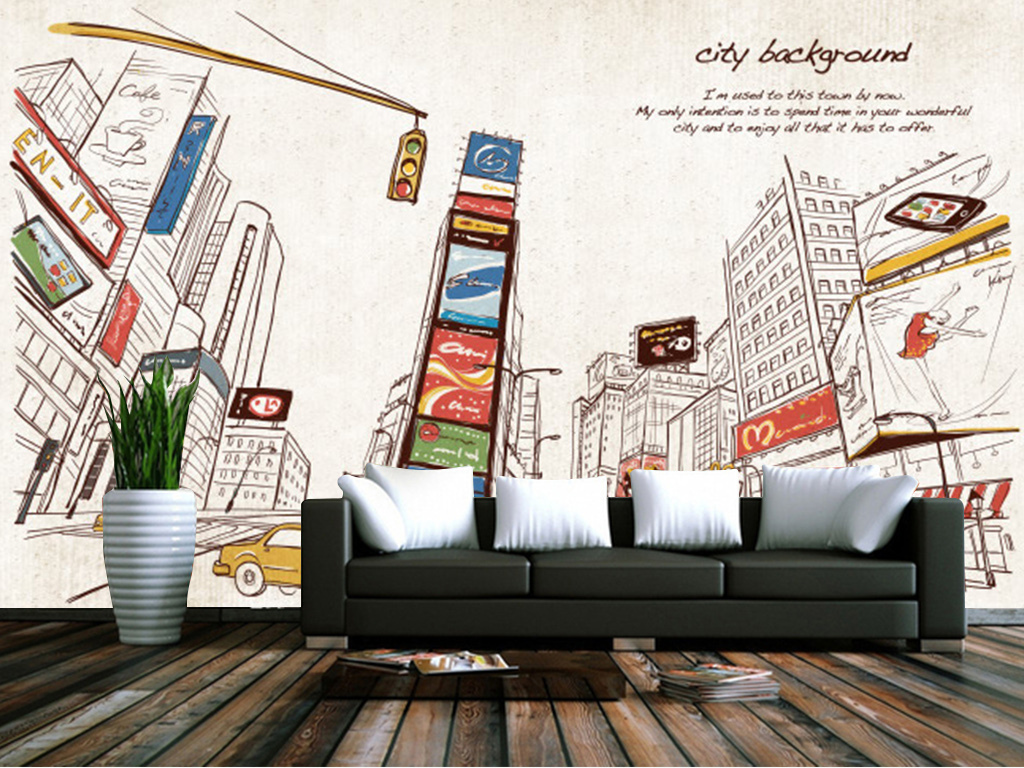 手绘彩色都市城镇街景背景墙电视墙