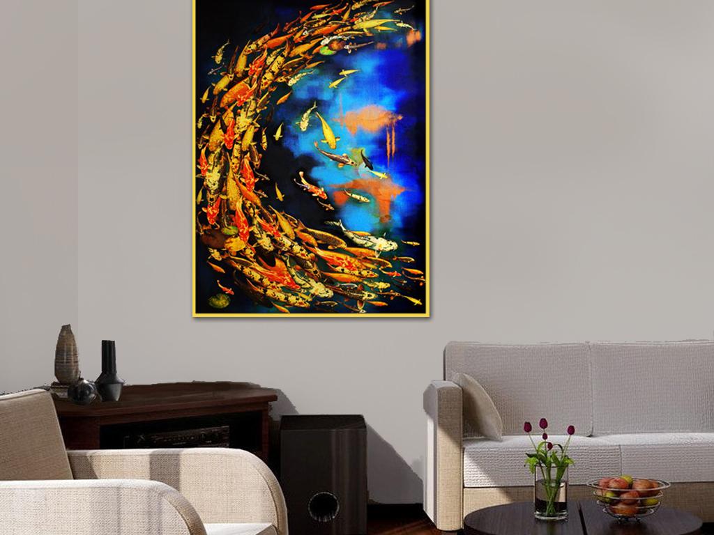背景墙|装饰画 无框画 动物图案无框画 > 五彩鱼群黑底蓝底红色鱼背景