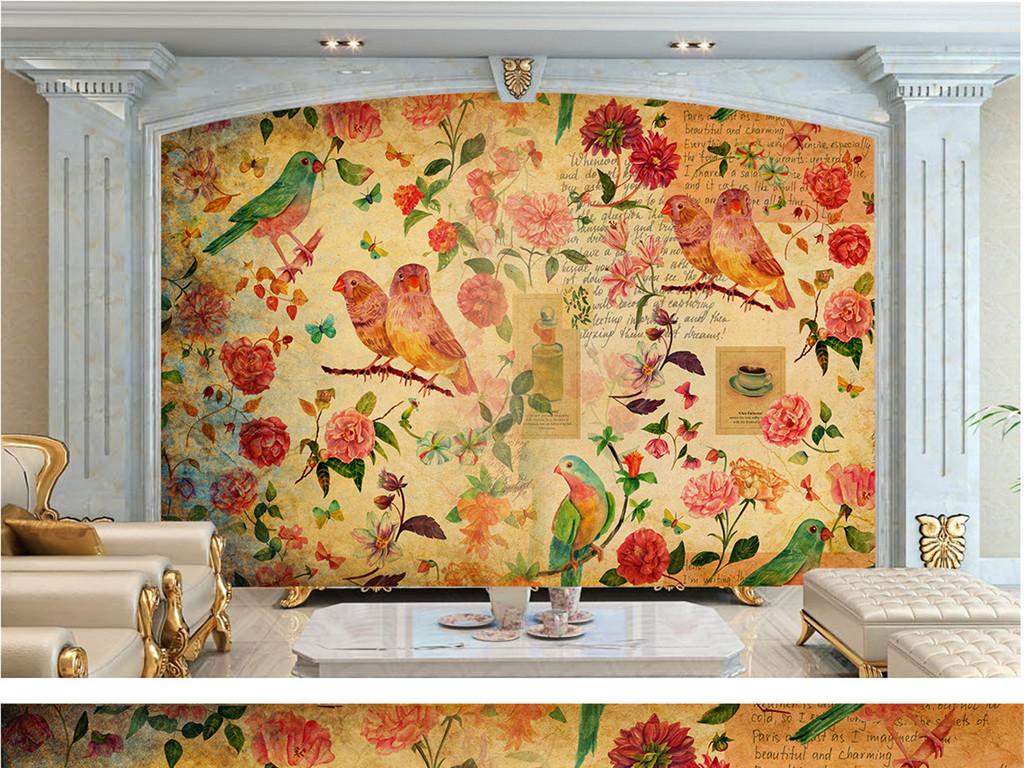 背景墙|装饰画 电视背景墙 欧式电视背景墙 > 手绘北欧现代花卉田园背