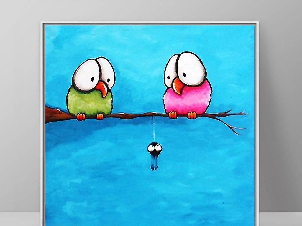 喜上枝头北欧现代手绘诙谐幽默小鸟装饰画