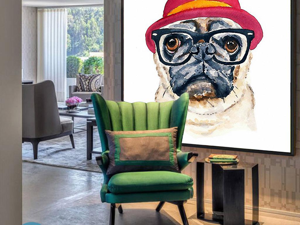 戴眼镜酷酷的狗先生可爱手绘欧式现代装饰画