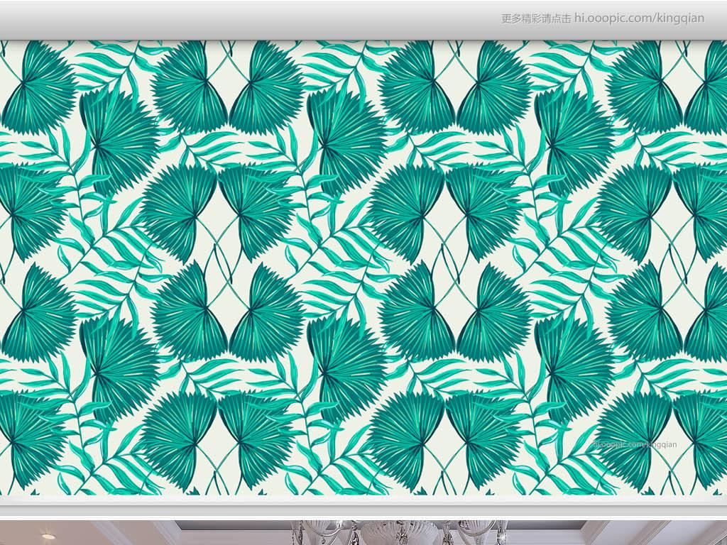 棕榈树叶美式墙纸图片
