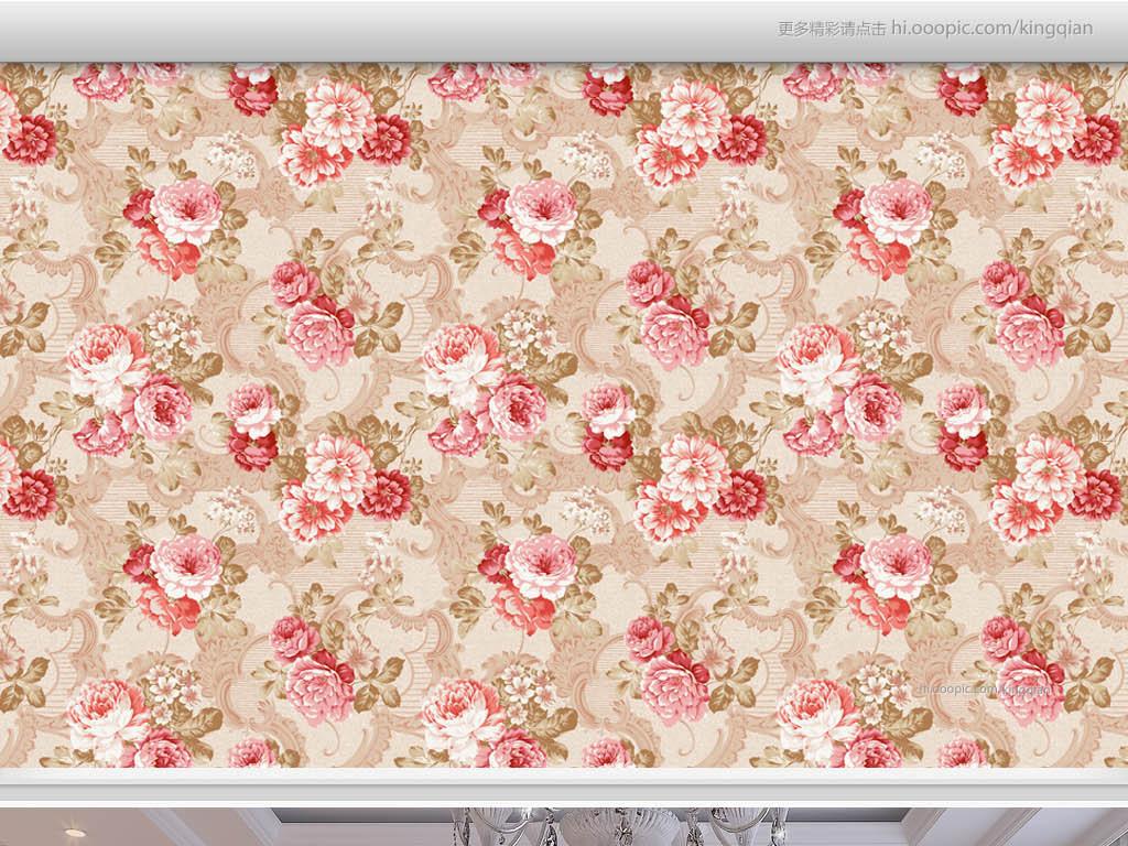 效果图客厅墙纸卧室墙纸无缝花纹花朵美式玫瑰花纹
