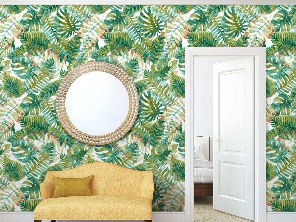 水彩热带植物美式墙纸