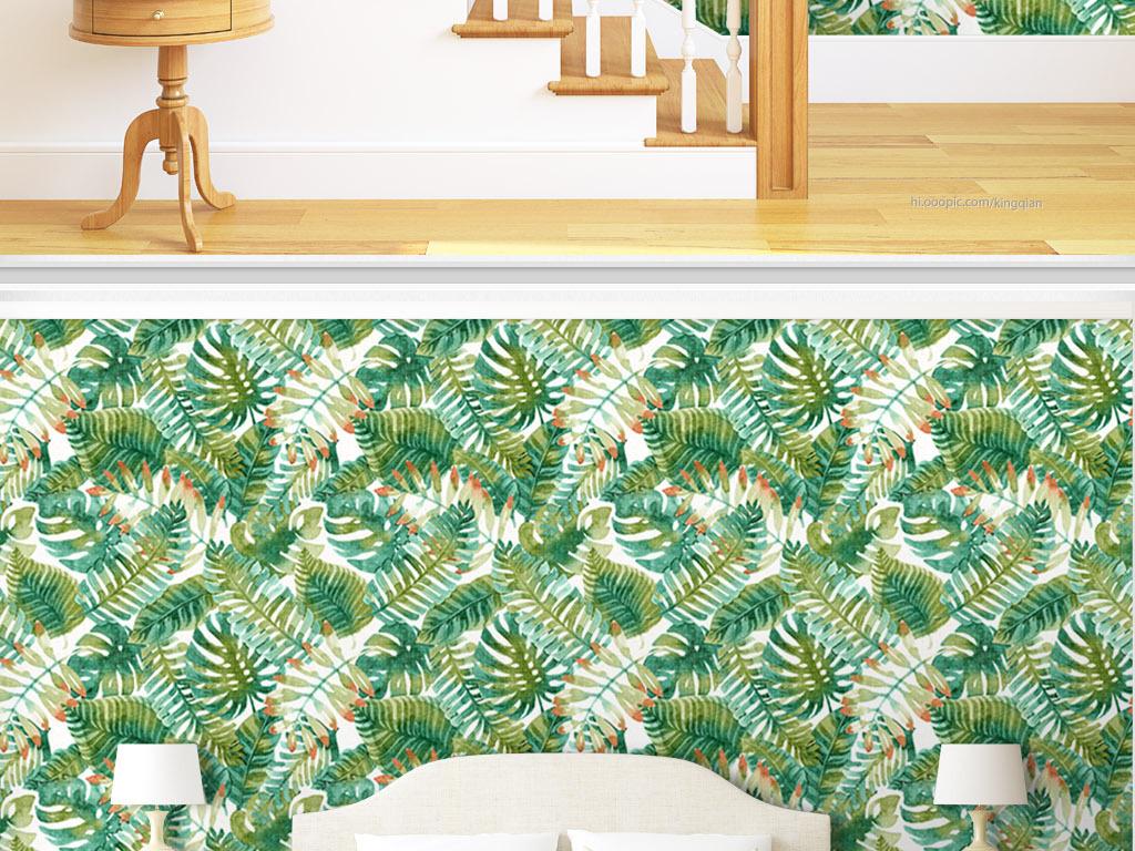 热带美式植物水彩植物欧式花纹墙纸电视背景墙图片玻璃电视背景墙图片