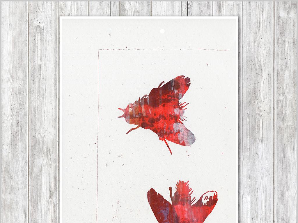 北欧简约创意手绘苍蝇创意水彩装饰画