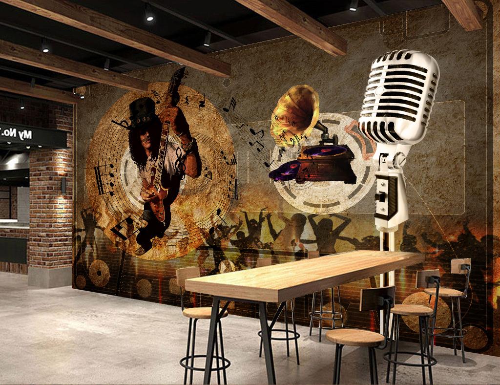 装修效果图欧美复古怀旧海报文化墙电视墙音乐话筒留声机卡带舞厅背景