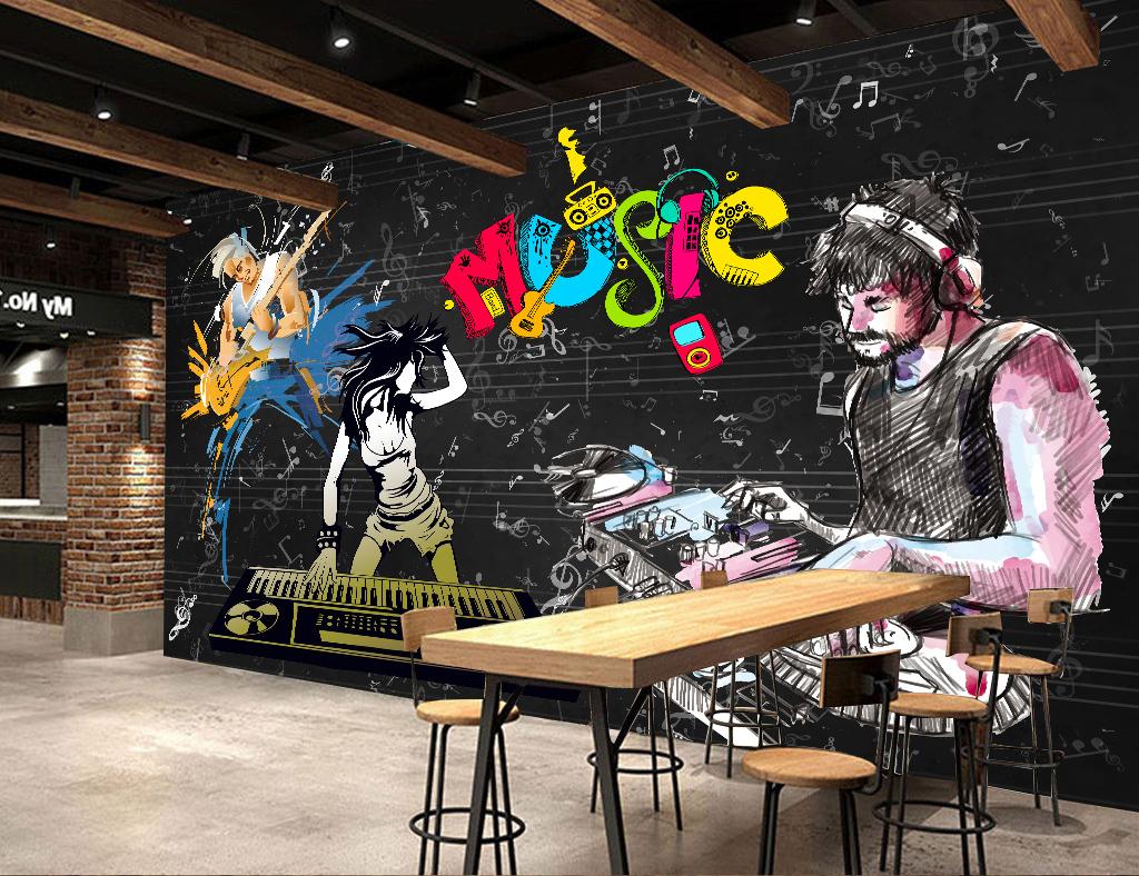 装修效果图欧美复古怀旧海报文化墙电视墙music吉它打碟音符音乐背景k