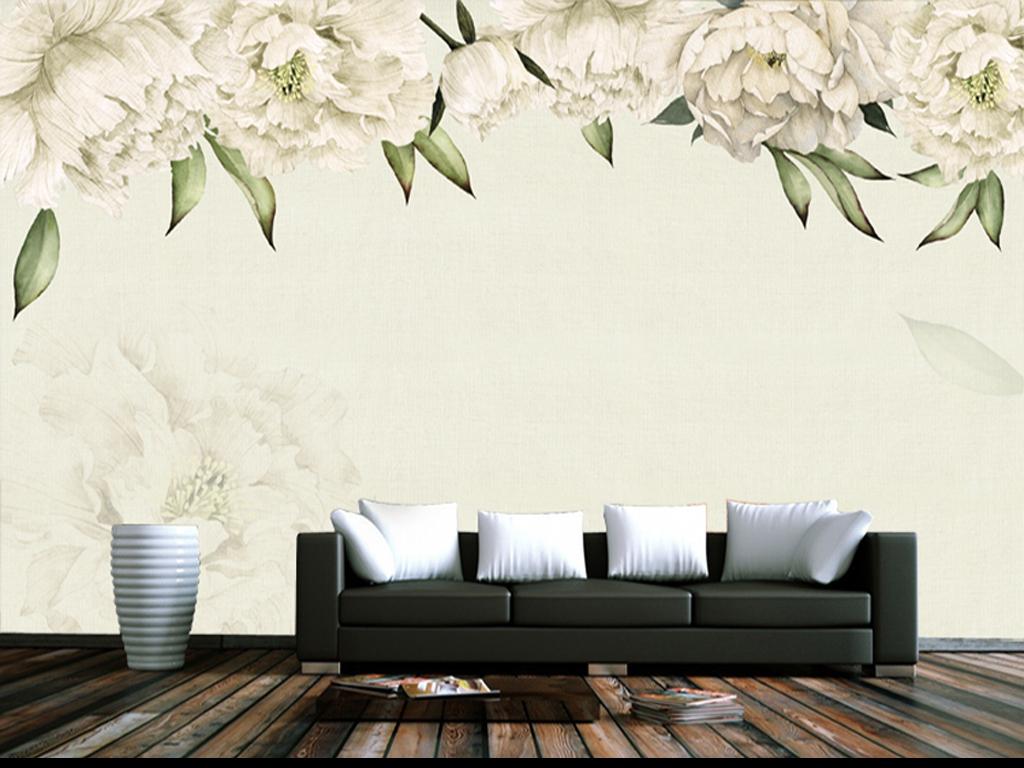 2017新款手绘美式花朵电视背景墙