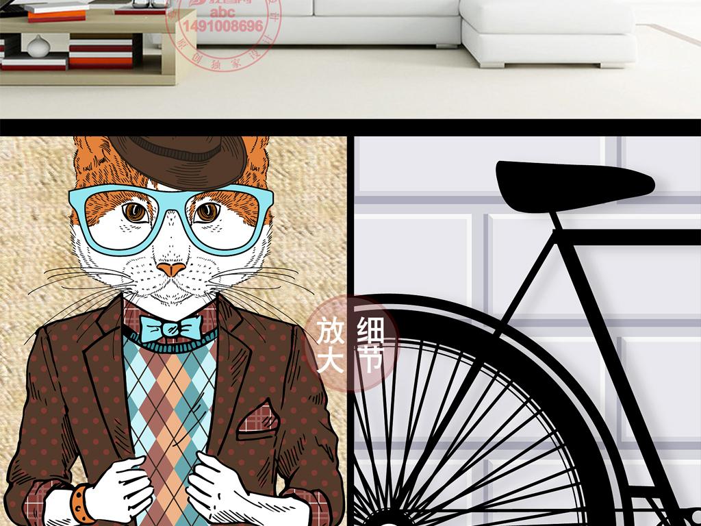 创意3d现代简约手绘动物壁画背景墙
