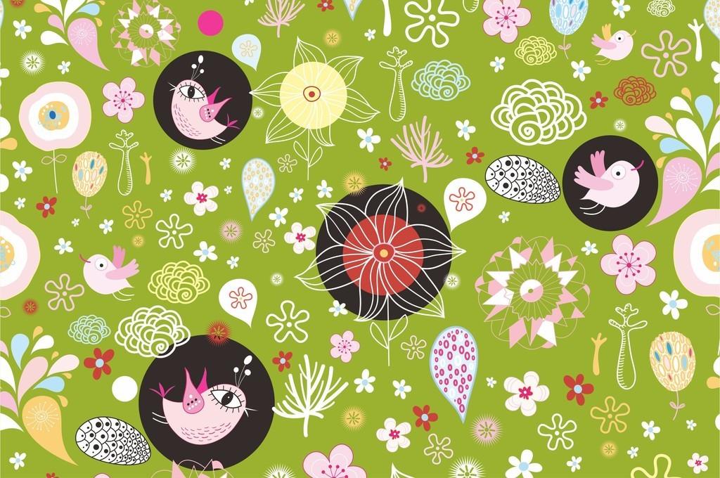 卡通图案动物鸟植物花卉图案封面设计图案