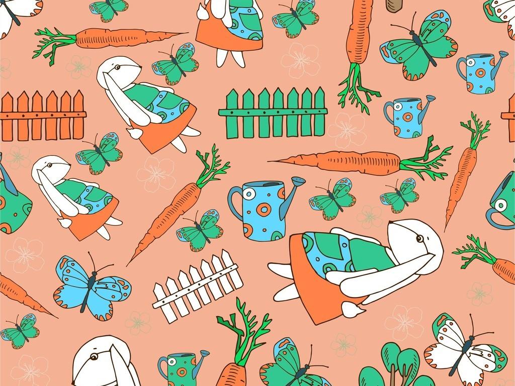 设计作品简介: 美食世界食物卡通动物蝴蝶兔子物品器