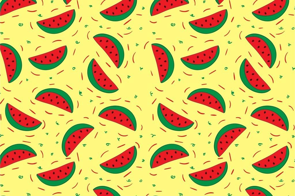 美食世界水果卡通西瓜背景图案面料印花图案 矢量图, rgb格式高清