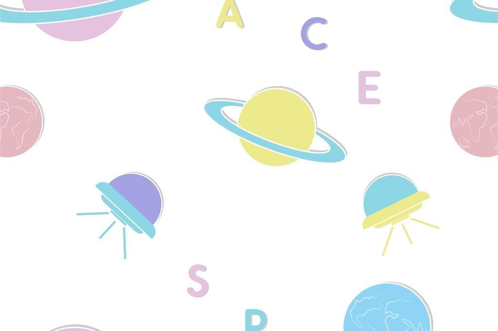 免抠元素 花纹边框 卡通手绘边框 > 外太空宇宙飞船星球卡通元素印花