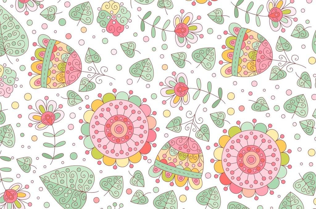 植物花卉卡通花朵儿童背景墙装饰画印花图案