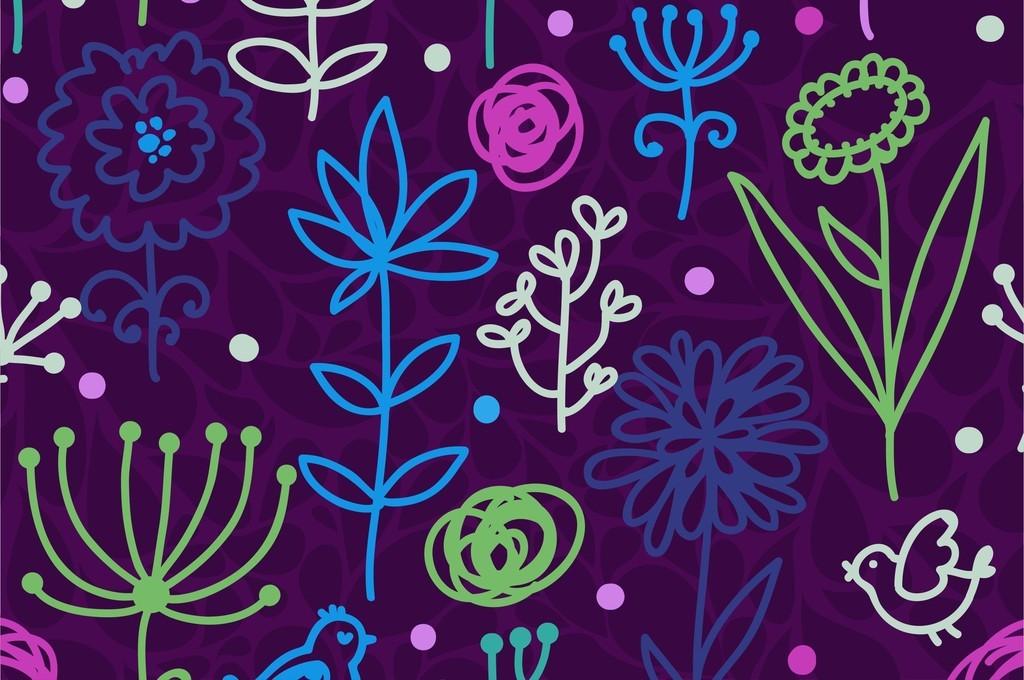 植物花卉花草组合_通图案卡通动物鸟印花图