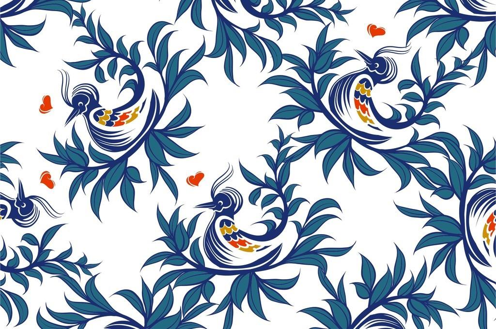 复古棉麻面料植物花卉印花图案时装设计素材