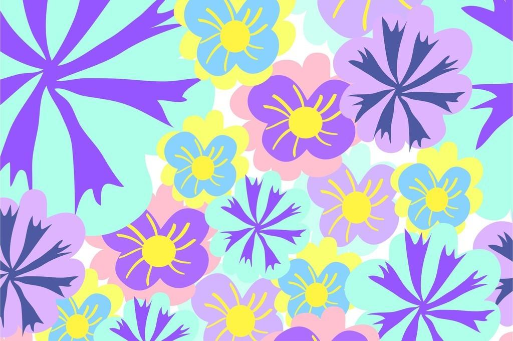 小清新卡通植物花卉图案家纺设计印花图案