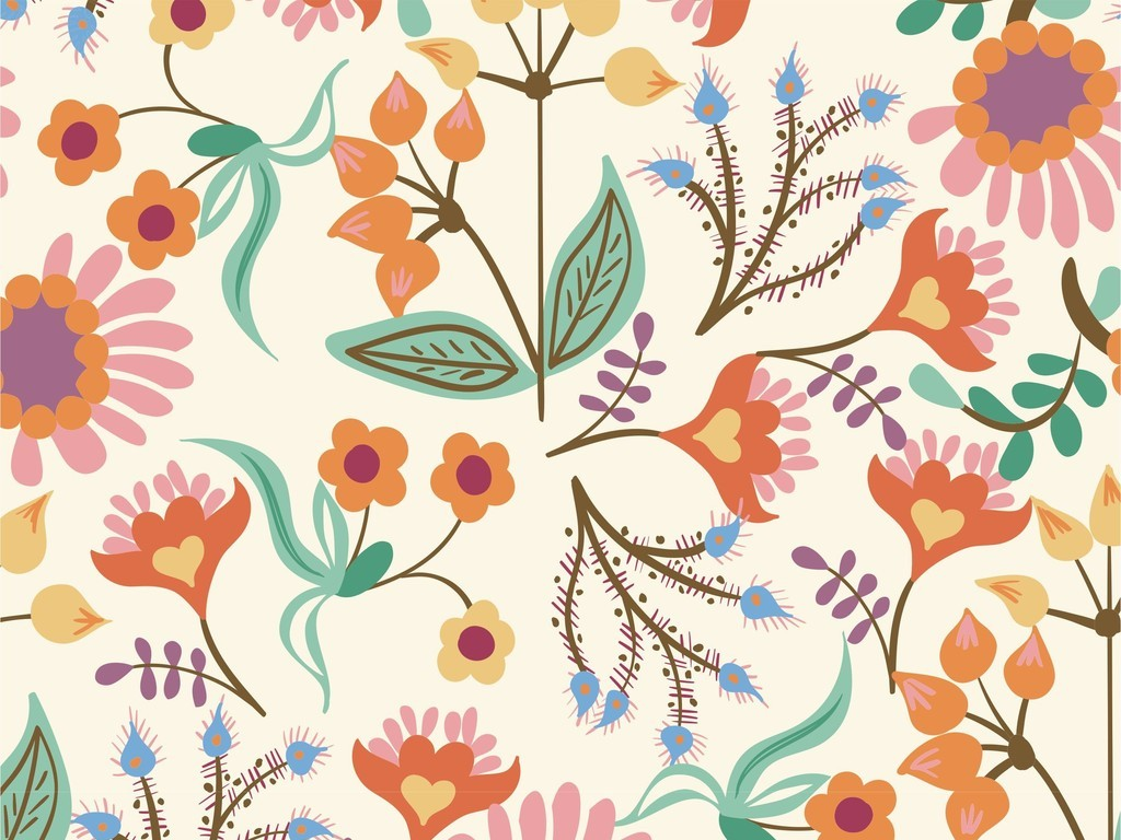 复古植物花卉地毯背景墙装饰画印花图案素材