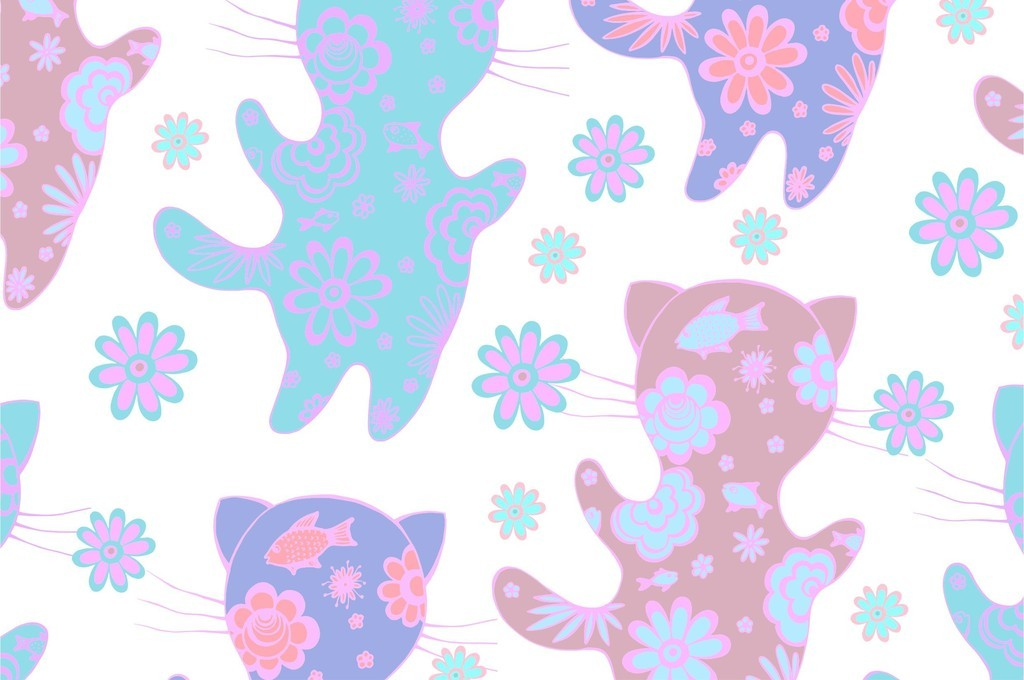 植物花卉卡通图案卡通动物猫咪剪影印花图案