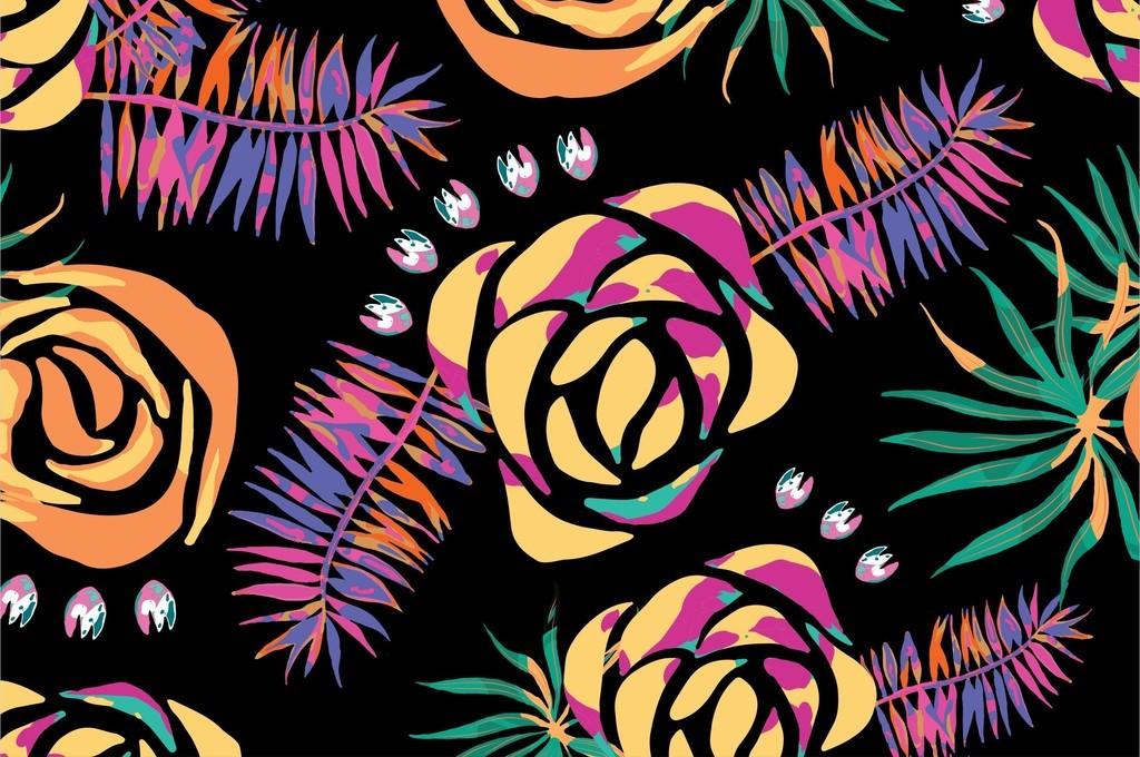 植物花卉图案叶子国际大牌连衣裙印花图案