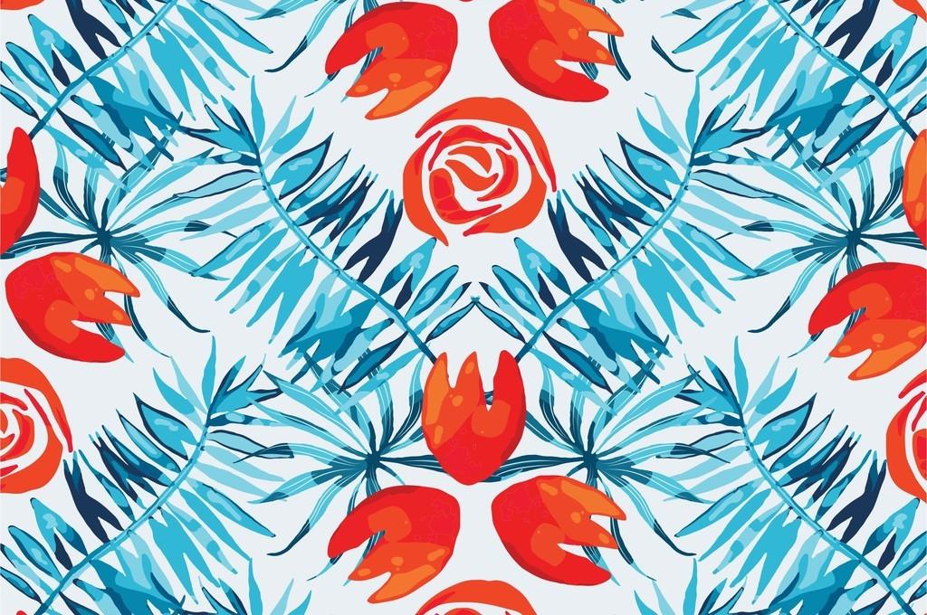 手绘花卉叶子复古花卉印花图案矢量图素材