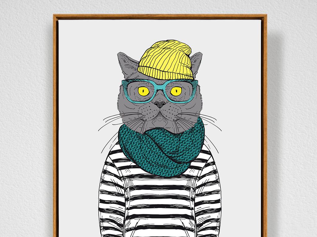 北欧风格动物手绘无框画装饰画插画