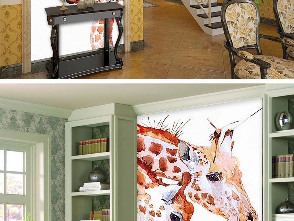 三只长颈鹿欧式手绘简约北欧现代玄关装饰画图片