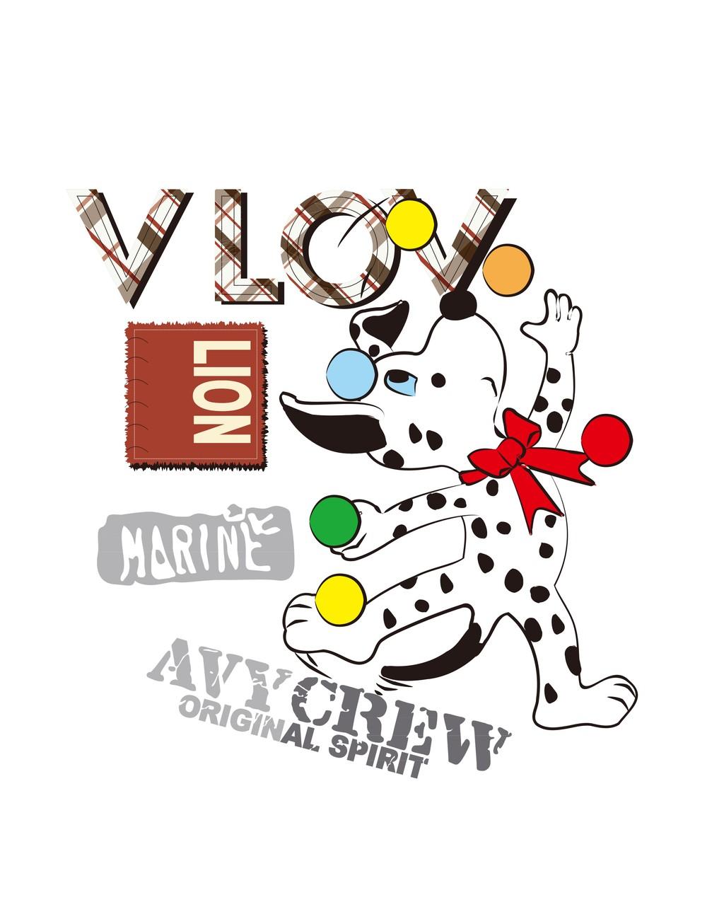卡通动物场景插画小狗英文字体效果图片