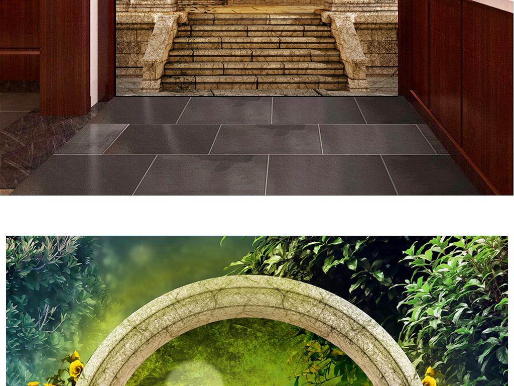 欧式罗马花园孔雀玄关