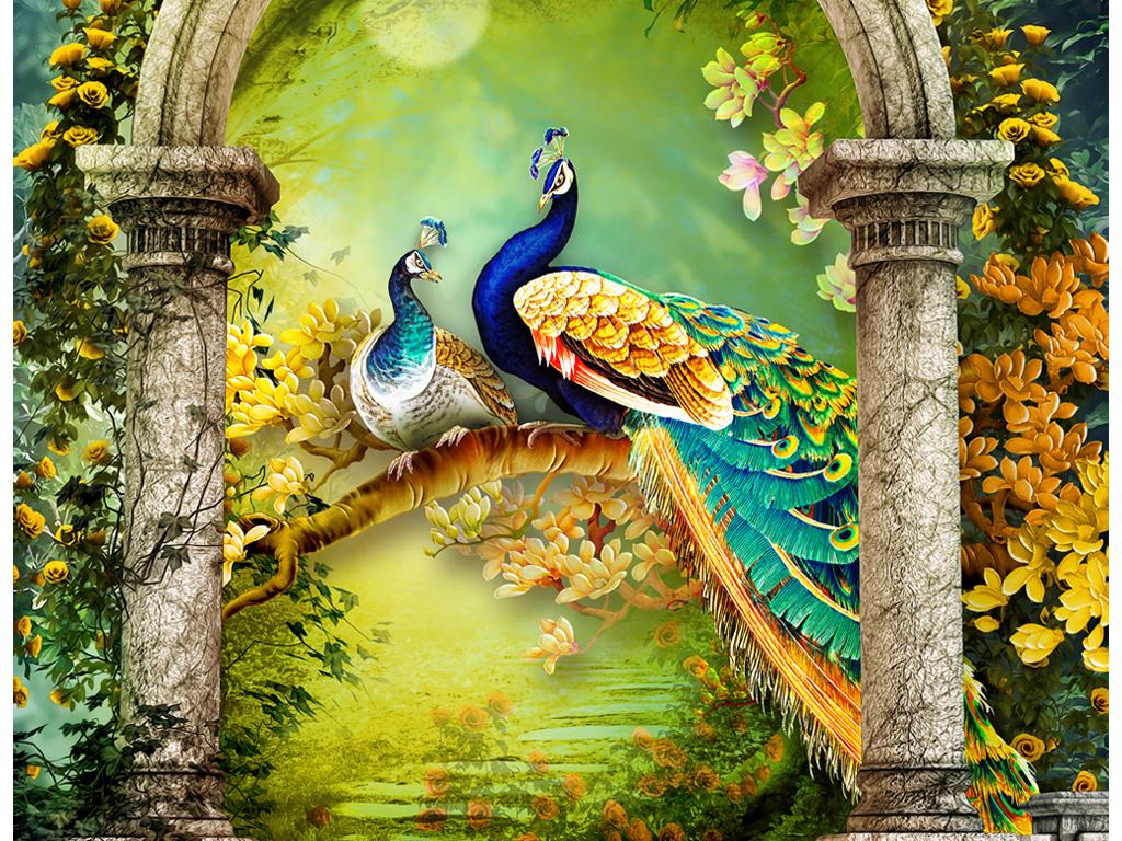 欧式罗马花园孔雀玄关图片