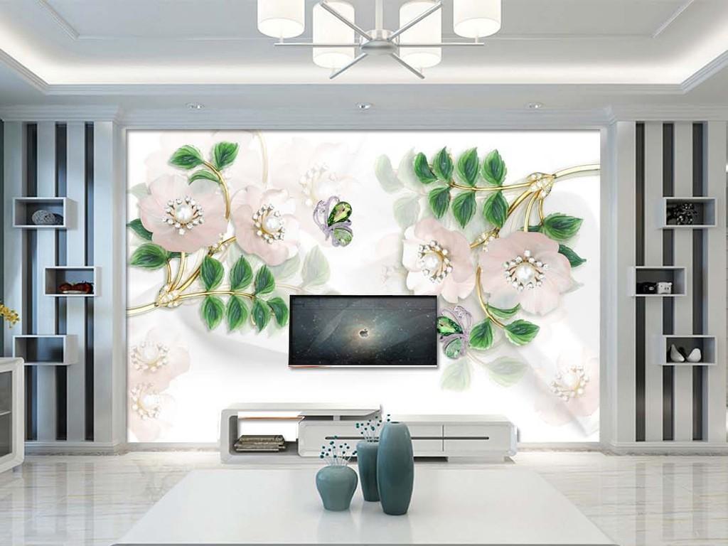 3d现代风珠宝花朵电视背景墙