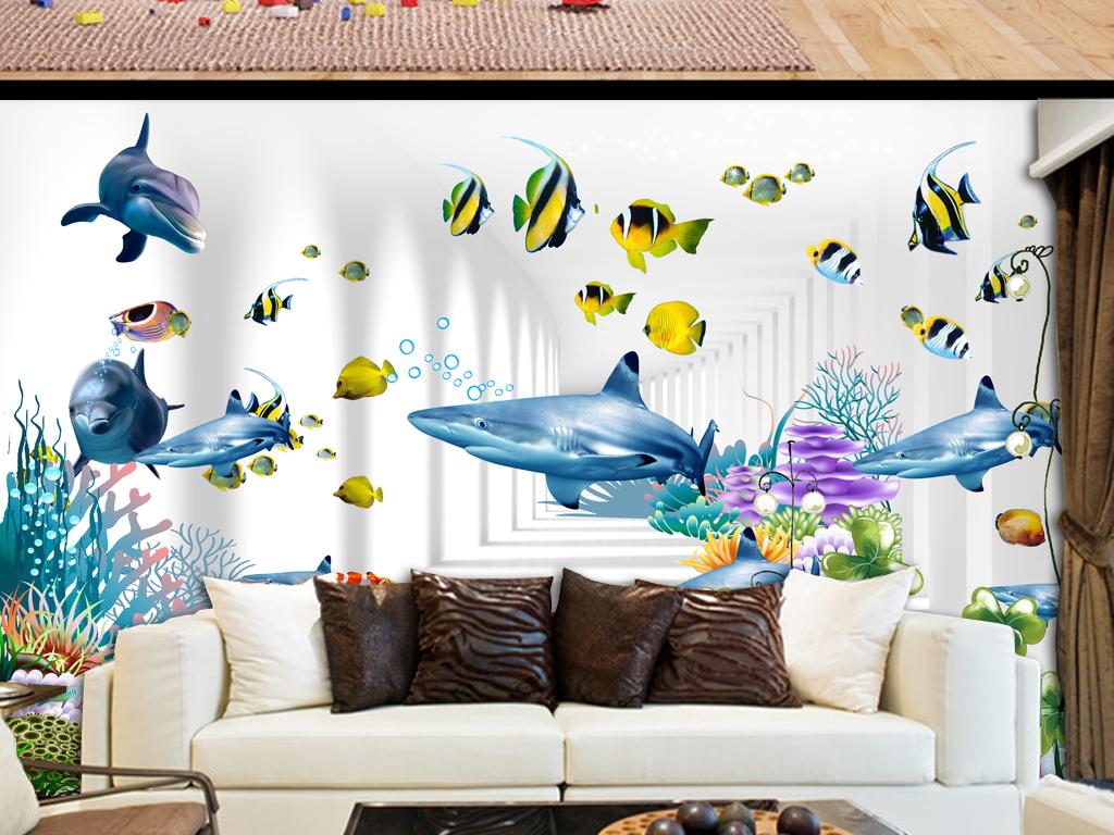 婴儿房墙壁贴画-3D儿童房壁画小孩房卡通背景墙